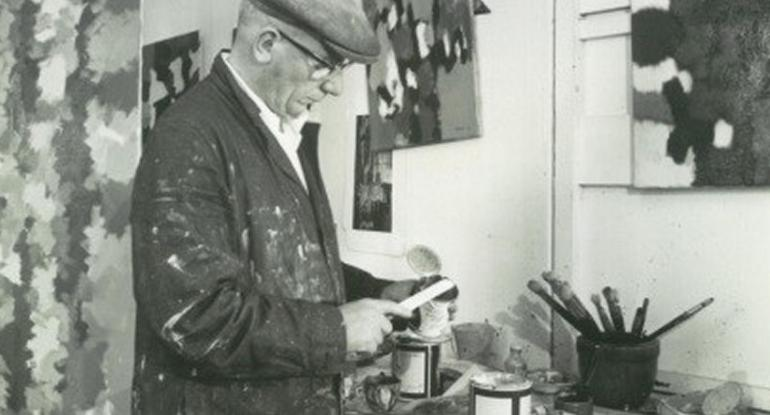 detail from William Gear in his studio, courtesy Towner, Eastbourne