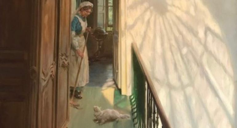 An Edwardian maid working in a sun-filled room where the window is reflecting an exquisite shape on the wall.