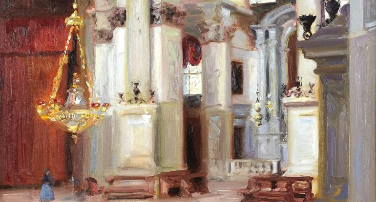 F.C.B. Cadell, Interior – Santa Maria della Salute, Venice, 1911. On loan from a private collection.