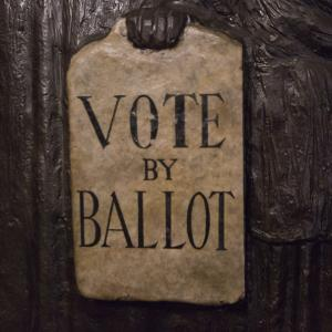 Vote by ballot sign at the Peoples Story Museum Edinburgh