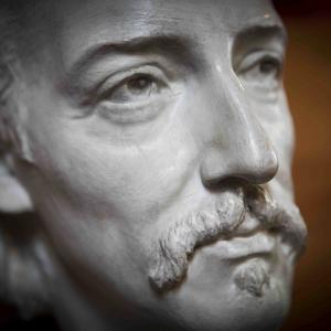 Close-up of Robert Louis Stevenson bust from The Writers' Museum