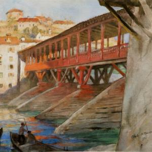 Painting of the Bassano Bridge, Venice by artist Charles H Mackie