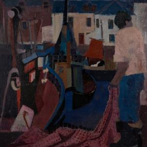 Painting by Scottish artist Donald Smith. Fisherman at work with fishing net beside fishing boat