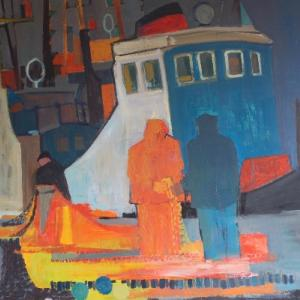 Painting by Scottish artist Donald Smith of a wheelhouse in blue, red, white and orange. Two spectators feature.