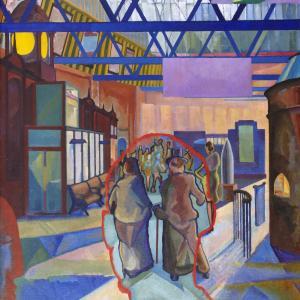 •Edwin G. Lucas, Caley Station, Edinburgh, 1942. City Art Centre, Museums & Galleries Edinburgh. © the artist's estate. (Photo: City Art Centre)