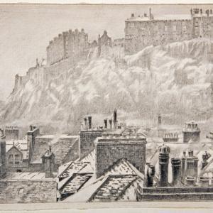 Ernest Stephen Lumsden, Edinburgh Castle in Snow, 1926, pencil on paper