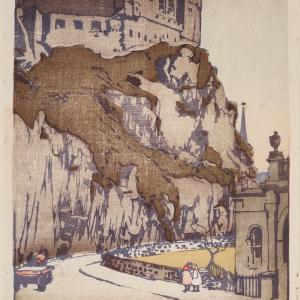 Mabel Royds, Edinburgh Castle, early 20th century, coloured woodcut on paper