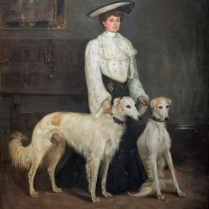 Mary Cameron, Mrs Blair and her Borzois, 1904. Private Collection. (Photo: Eion Johnston)