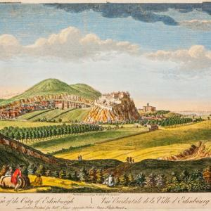 Paul Sandby, West View of the City of Edinburgh, 18th century, coloured engraving on paper