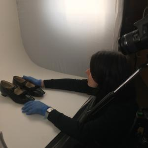 Collections Care Office Gwen Thomas helping with object photography © City of Edinburgh Council Museums & Galleries; Museum