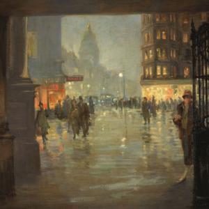 Robert Easton Stuart, Maule's Corner after Rain, Edinburgh, 1925, oil on canvas