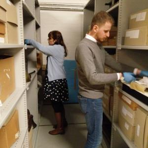 Gabriella and Oliver working in the stores of the Museum Collections Centre © City of Edinburgh Council Museums & Galleries; Museum Collections Centre